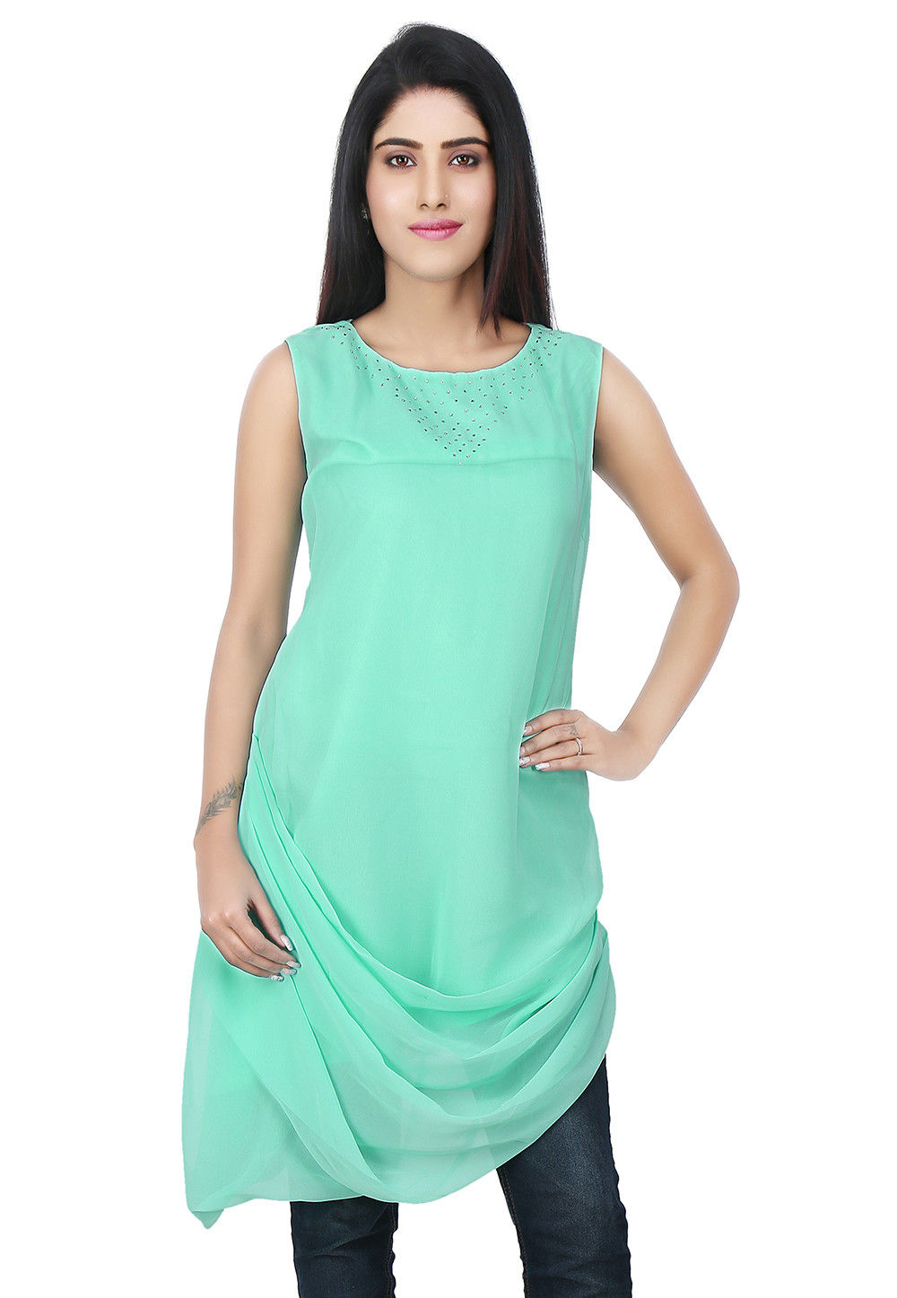 Cowl Style Georgette Tunic in Turquoise