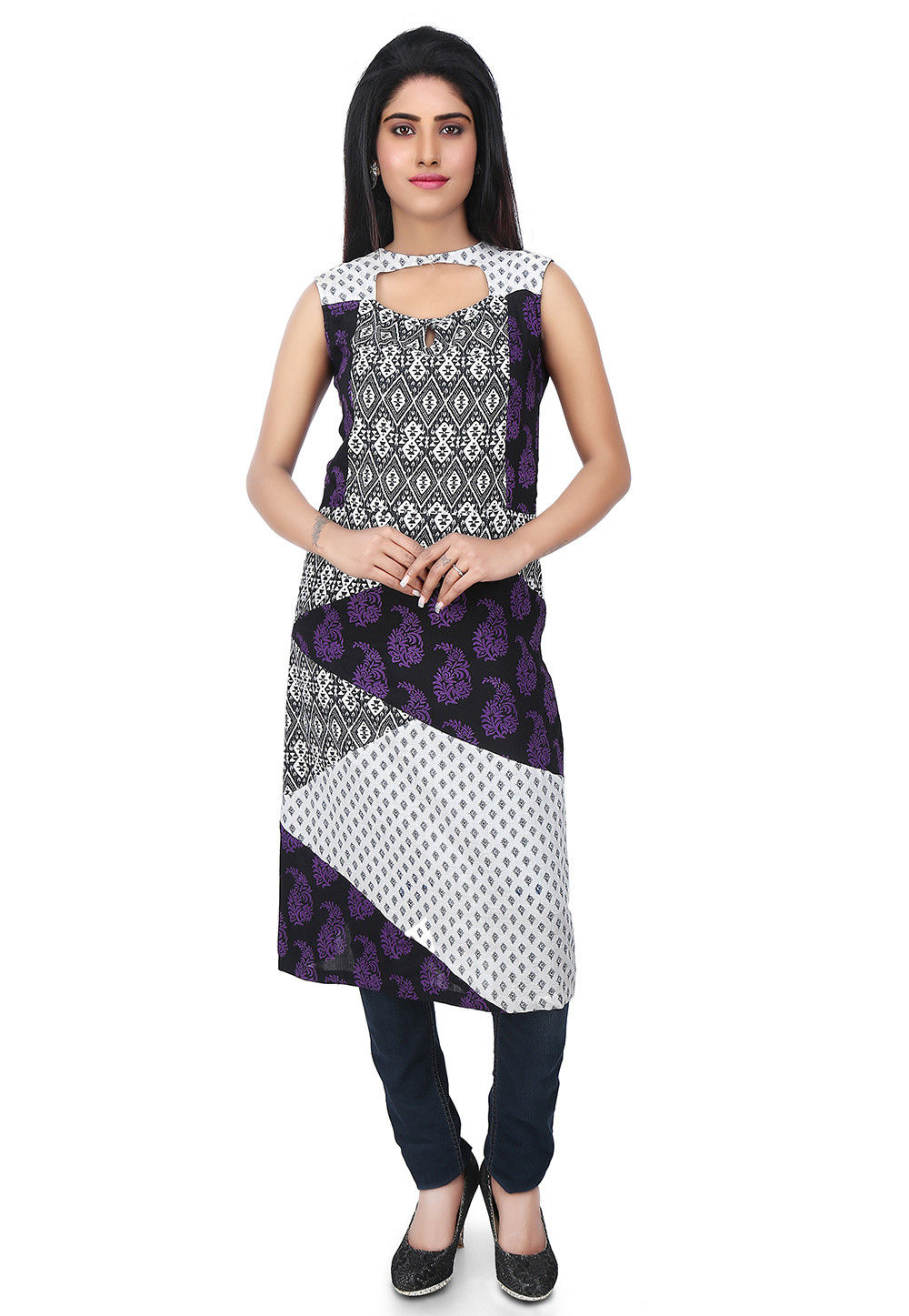 Printed Cotton Kurta in Black and White