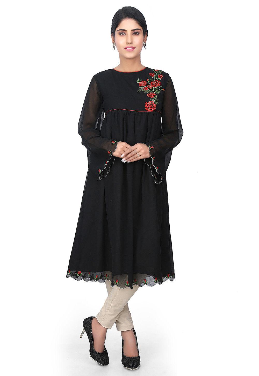 Plain Georgette Tunic in Black