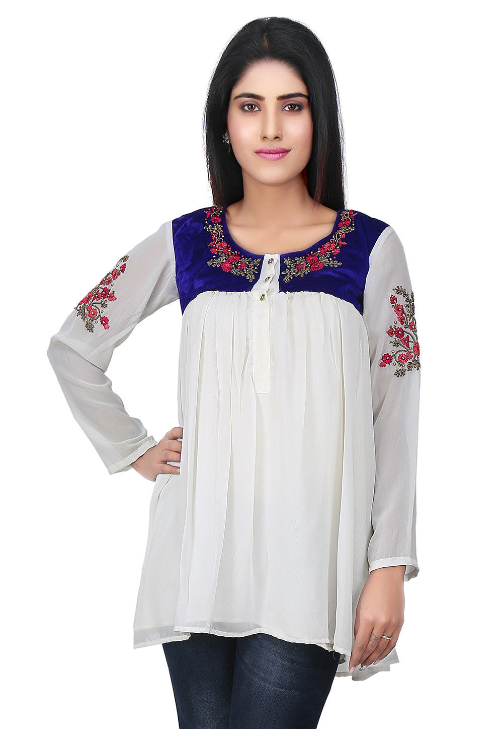 Hand Embroidered Yoke Georgette Flared Tunic in White