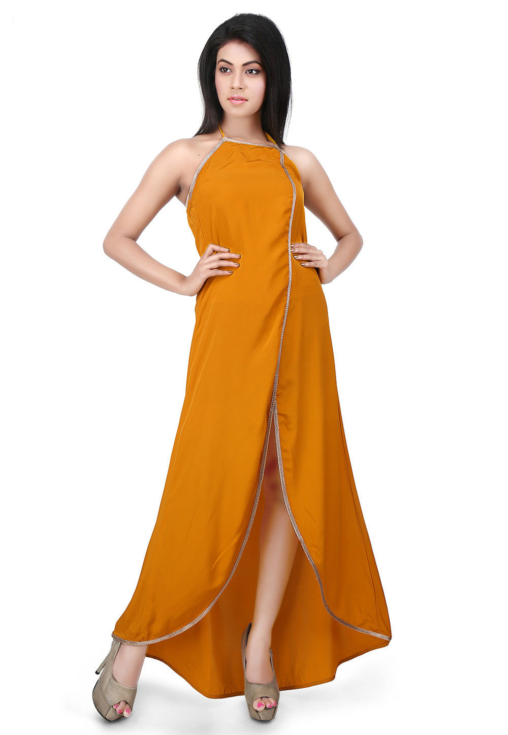 Asymmetric Front Slit Crepe Dress in Mustard
