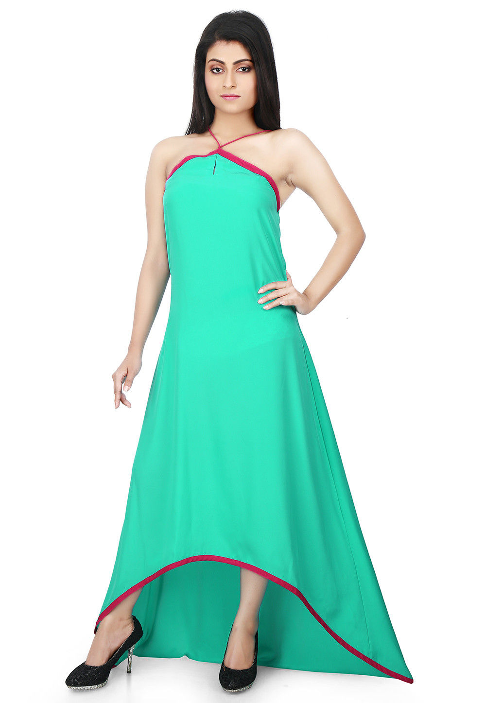 Asymmetric Crepe Dress in Sea Green