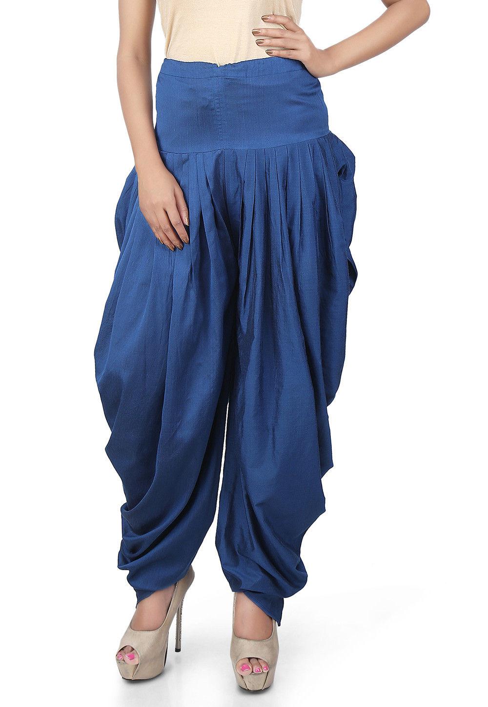 Plain Cotton Silk Dhoti Salwar in Blue
