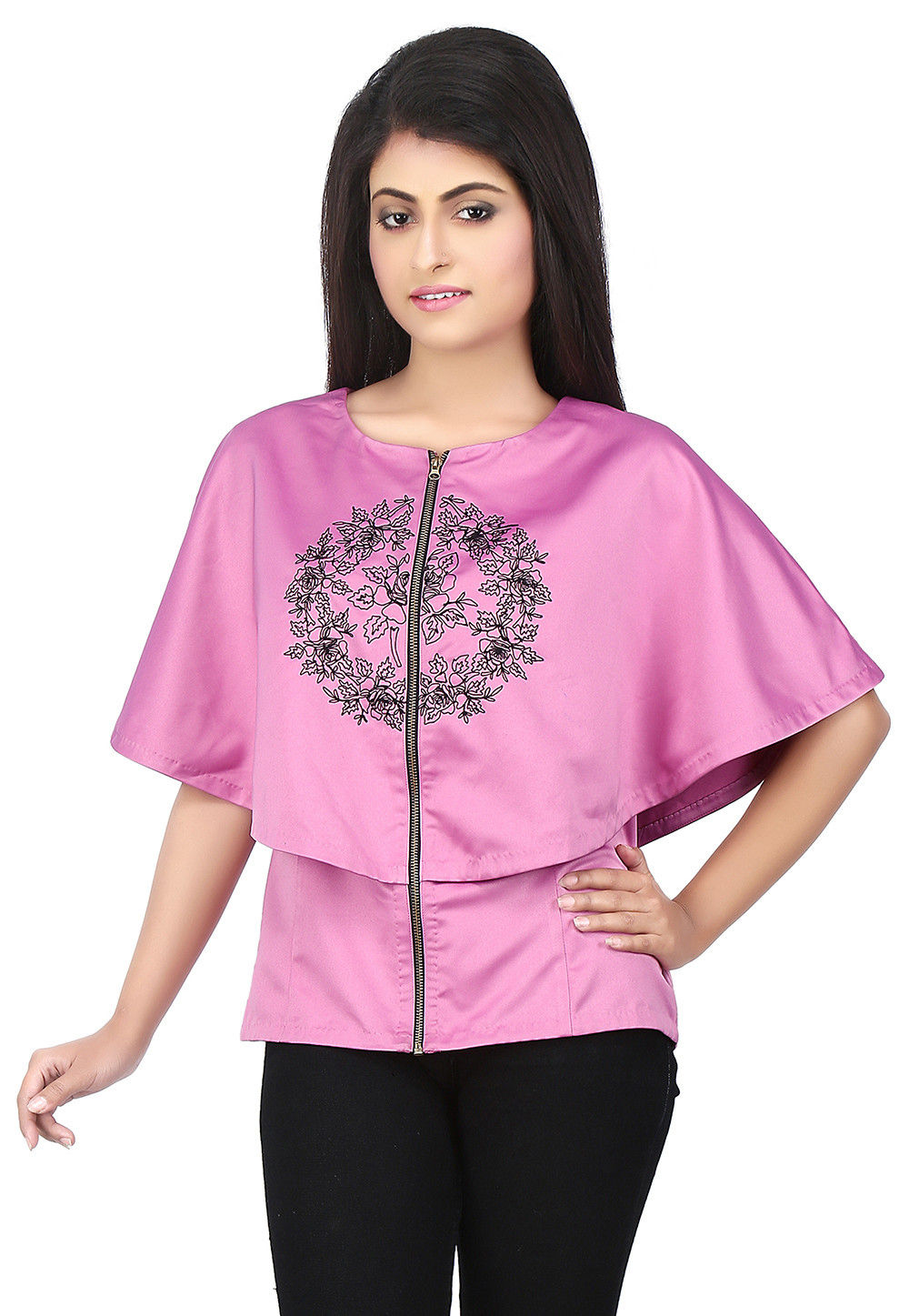 Embroidered Satin Cape Style Top in Lilac