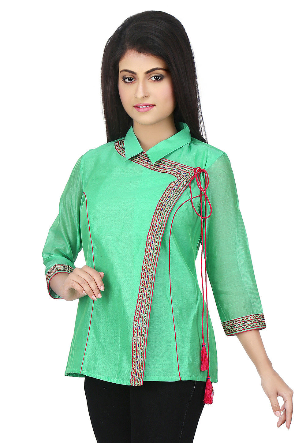 Embroidered Placket Chanderi Silk Angrakha Style Top in Green
