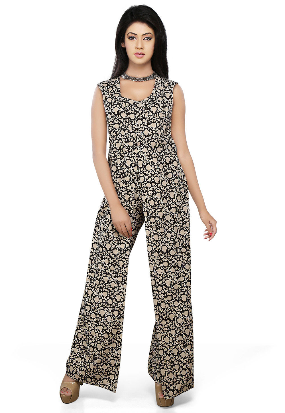 Block Printed Cotton Jumpsuit In Black