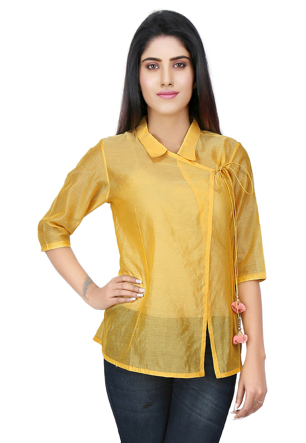 Plain Chanderi Silk Angrakha Style Top in Yellow