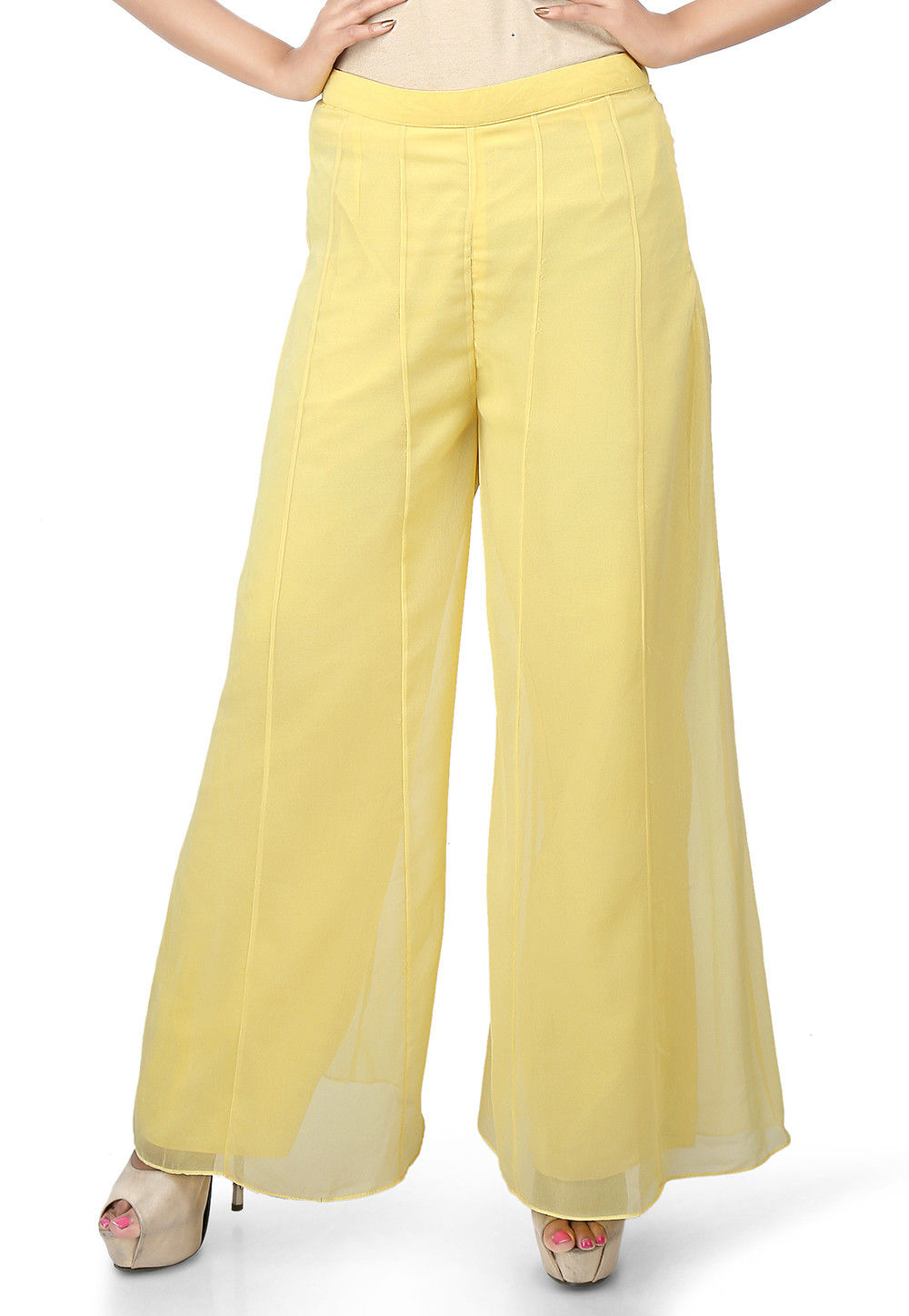 Plain Georgette Palazzo in Yellow