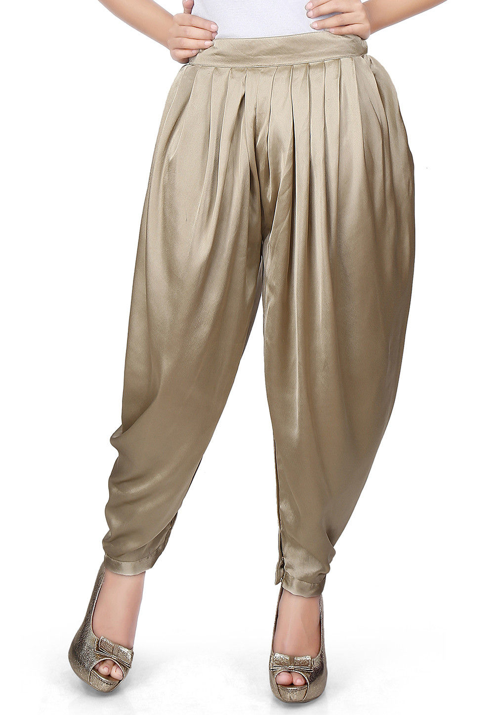 Plain Satin Dhoti Pant in Beige