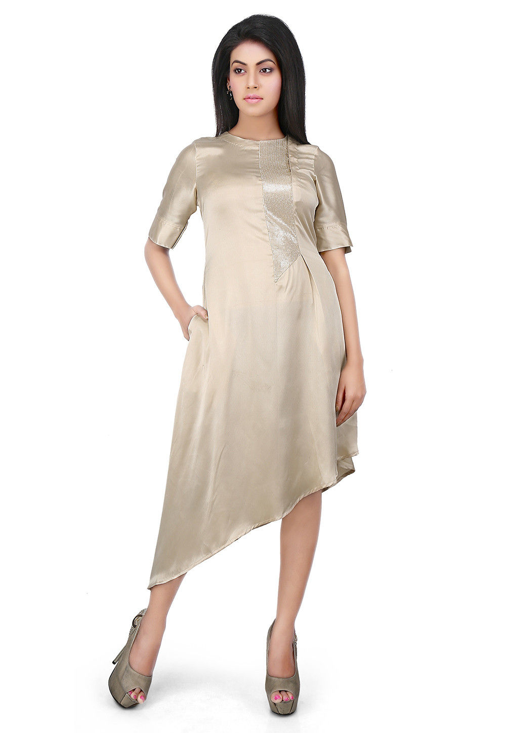 Embellished Side Placket Satin Asymmetric Dress in Beige