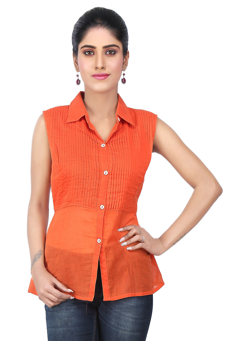 Tucks Cotton Shirt Style Top in Orange
