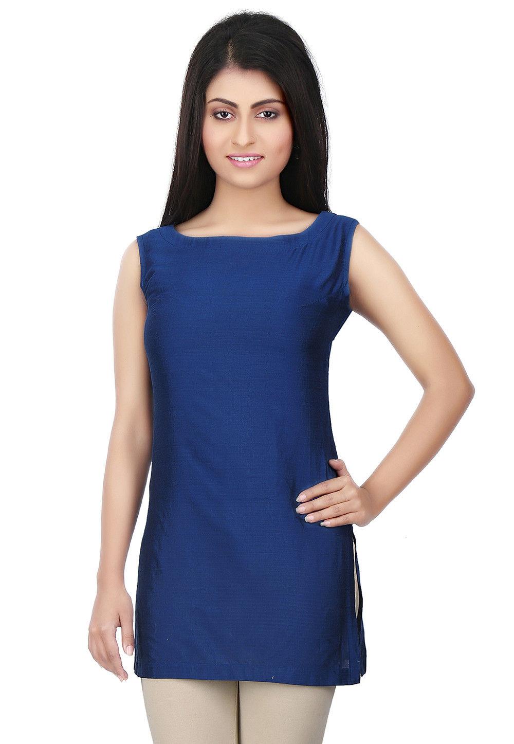 Plain Cotton Silk Kurti in Blue