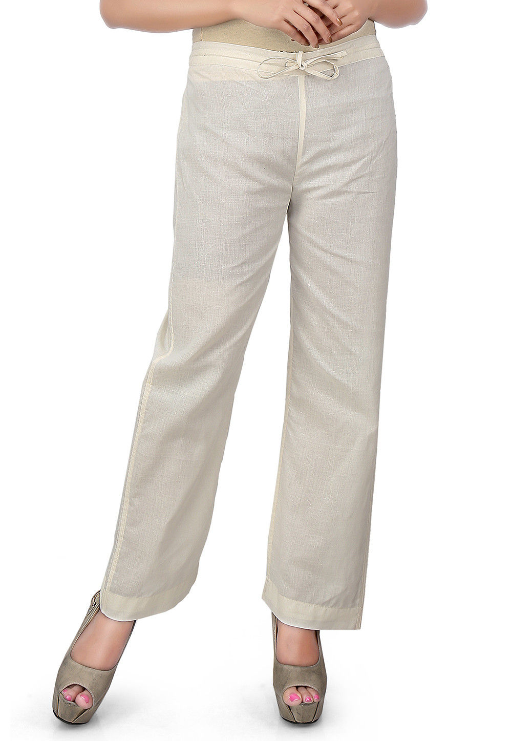 Plain Cotton Straight Pant in Off White
