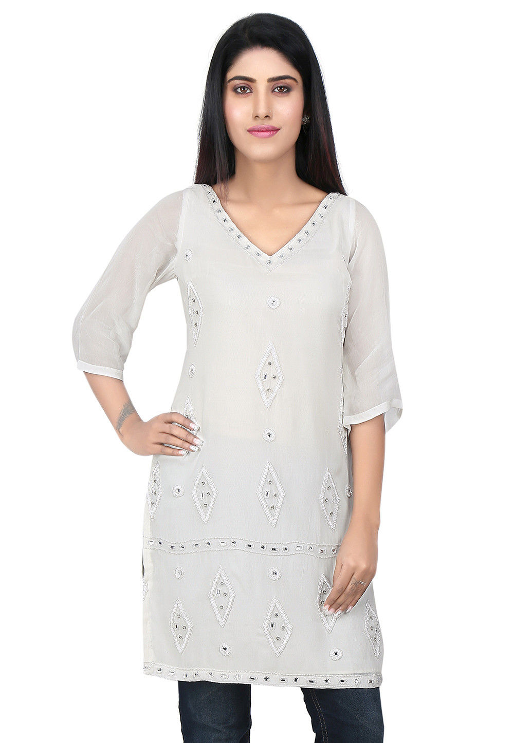 Embroidered Georgette Kurti in White