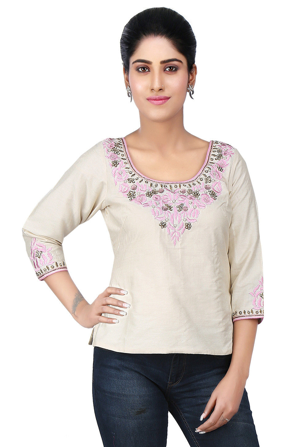 Embroidered Cotton Silk Top in Off White