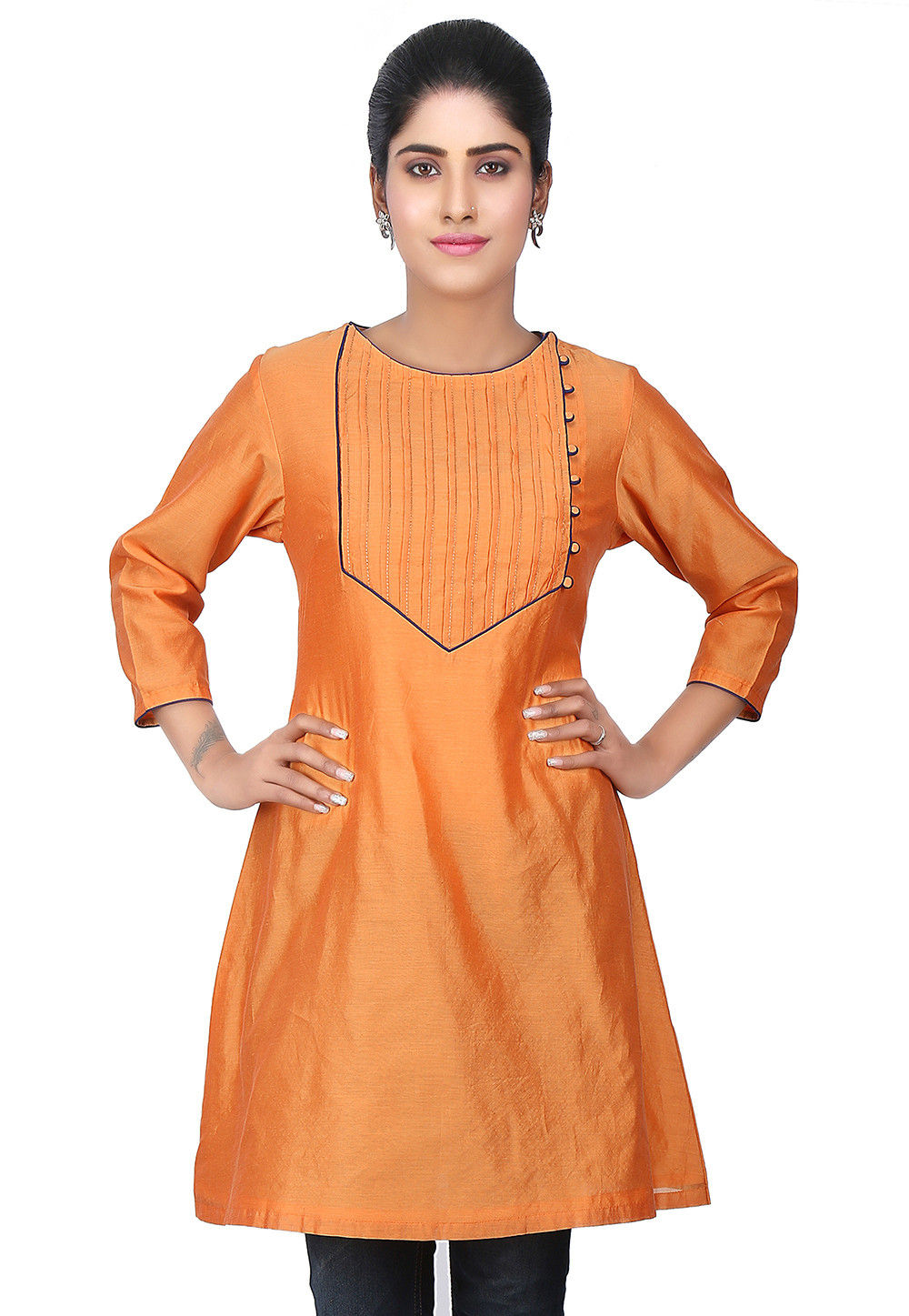 Tucks Chanderi Silk Kurti in Orange