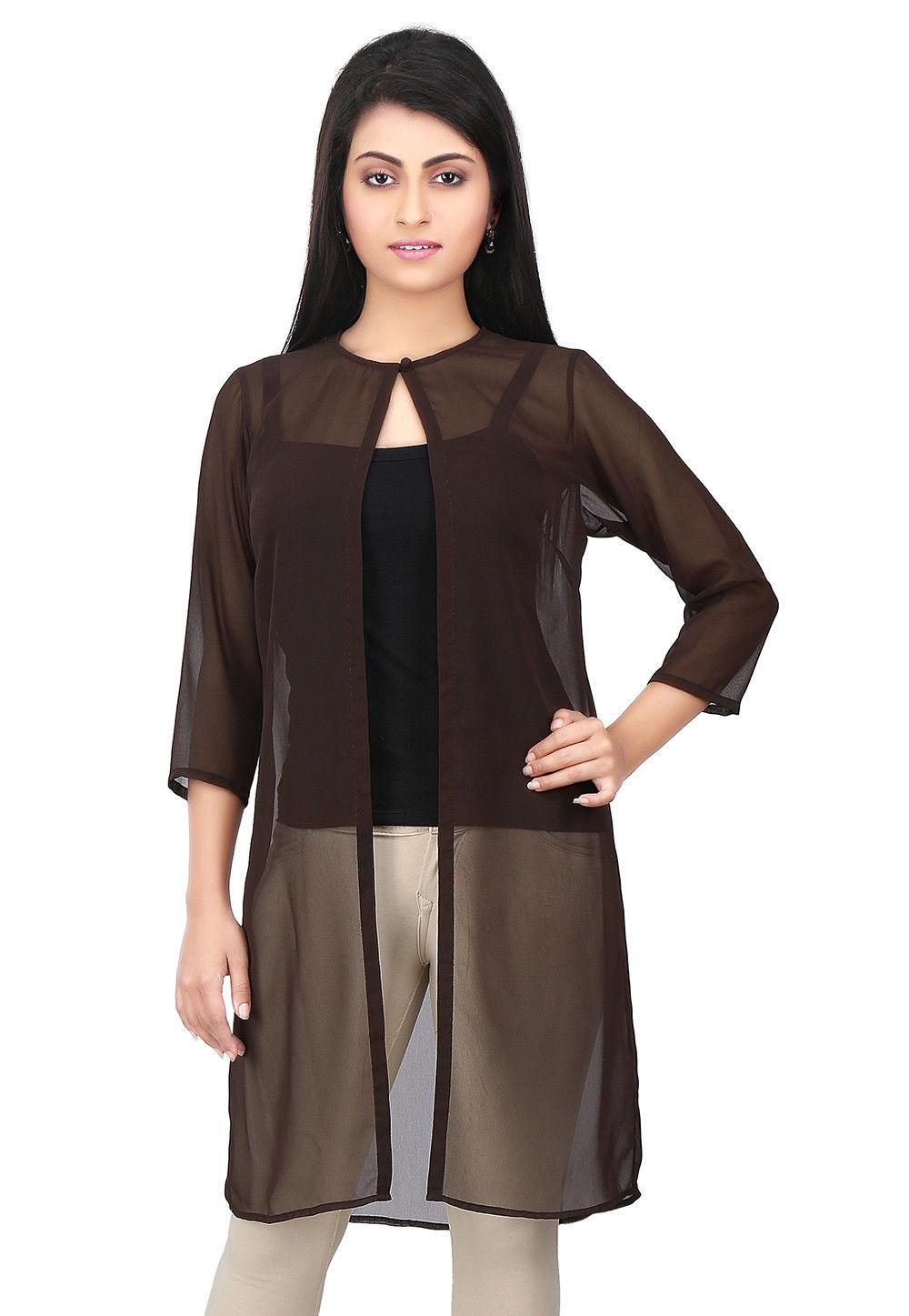 Plain Georgette Jacket in Brown