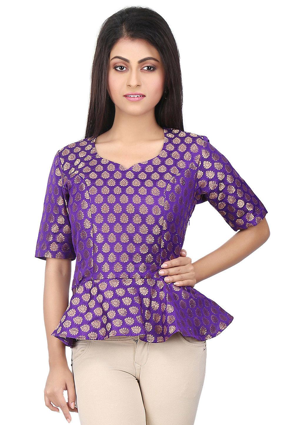 Woven Chanderi Silk Peplum Style Top in Purple
