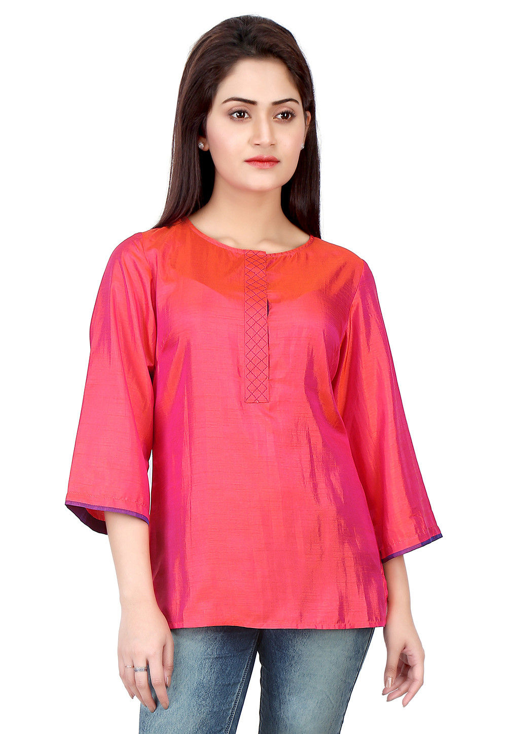 Plain Art Silk Top in Fuchsia