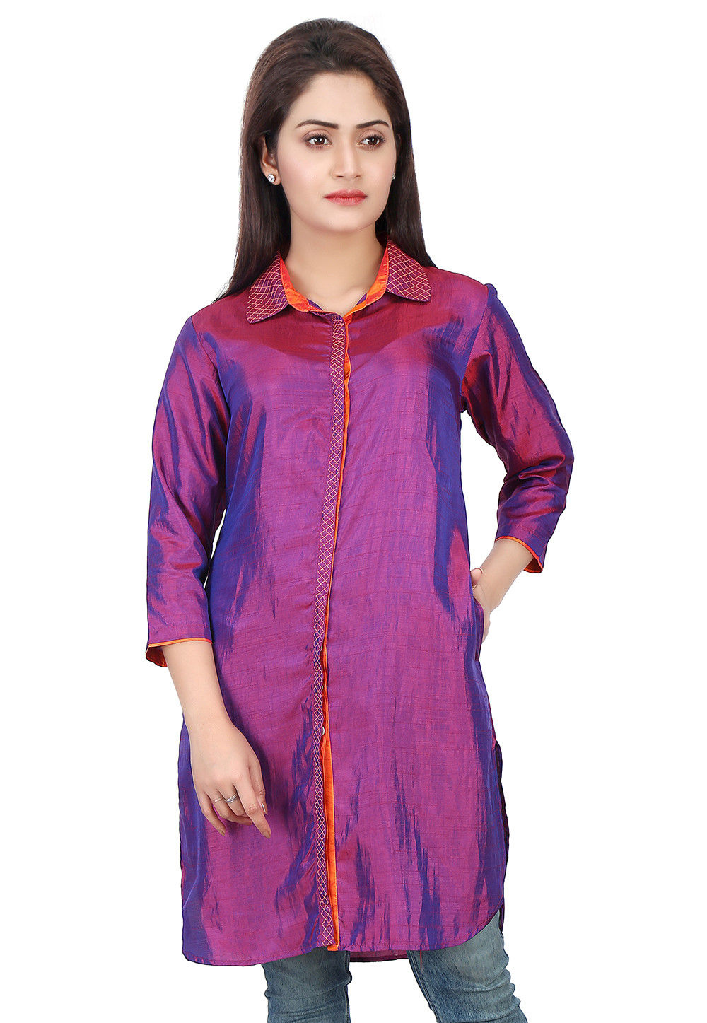 Plain Art Silk Tunic in Purple