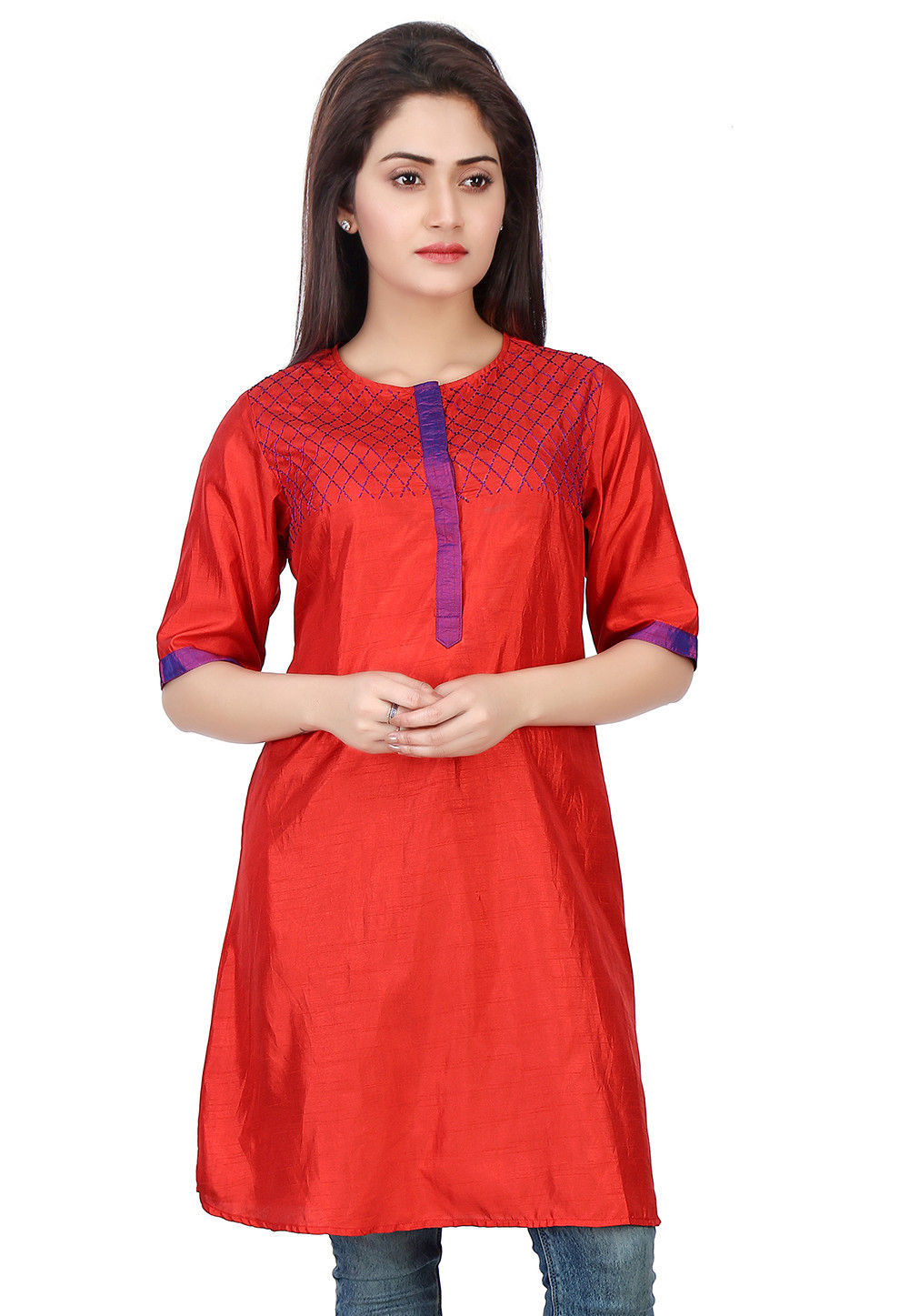Plain Art Silk Tunic in Red