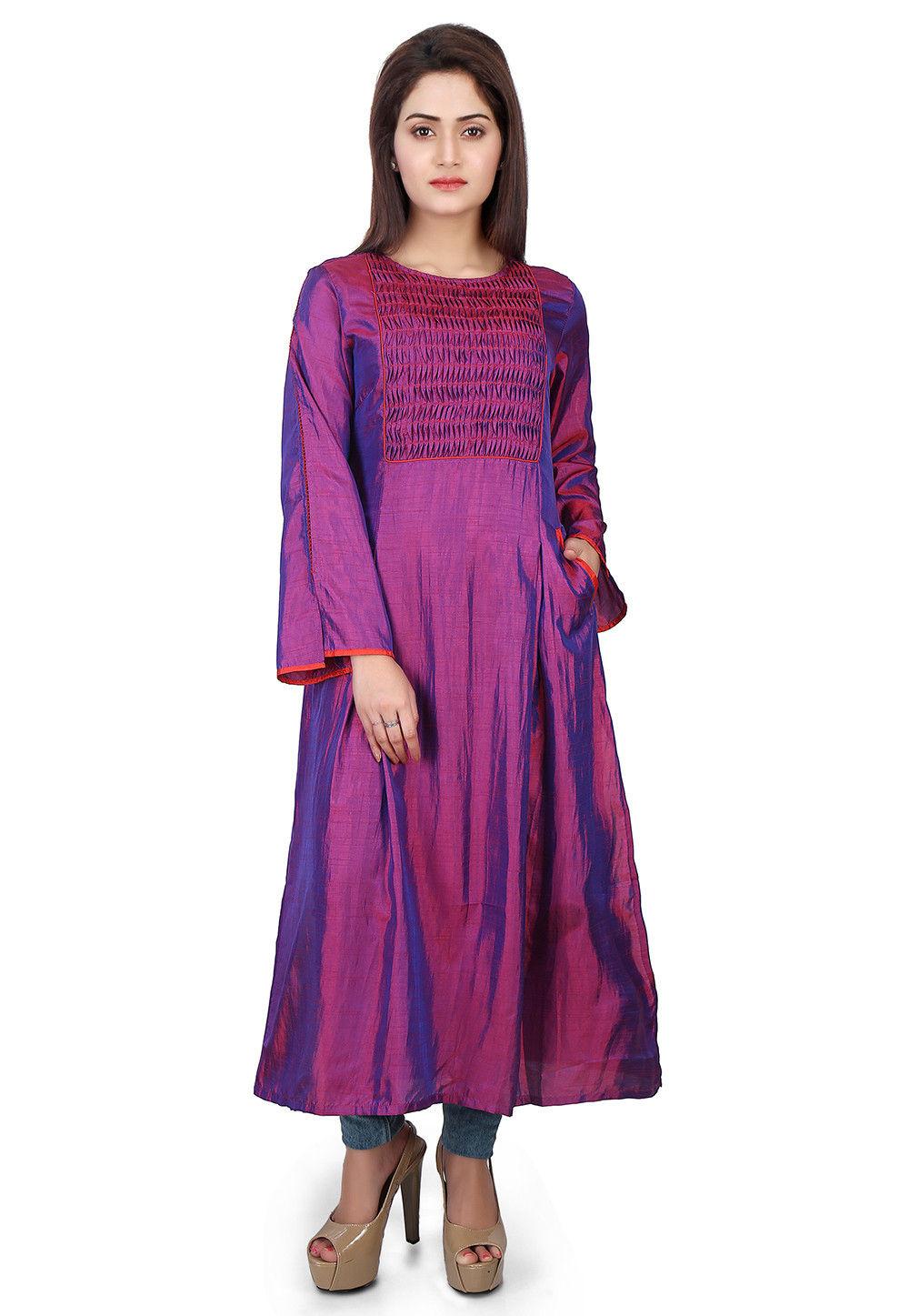Plain Art Silk Long Kurta in Purple