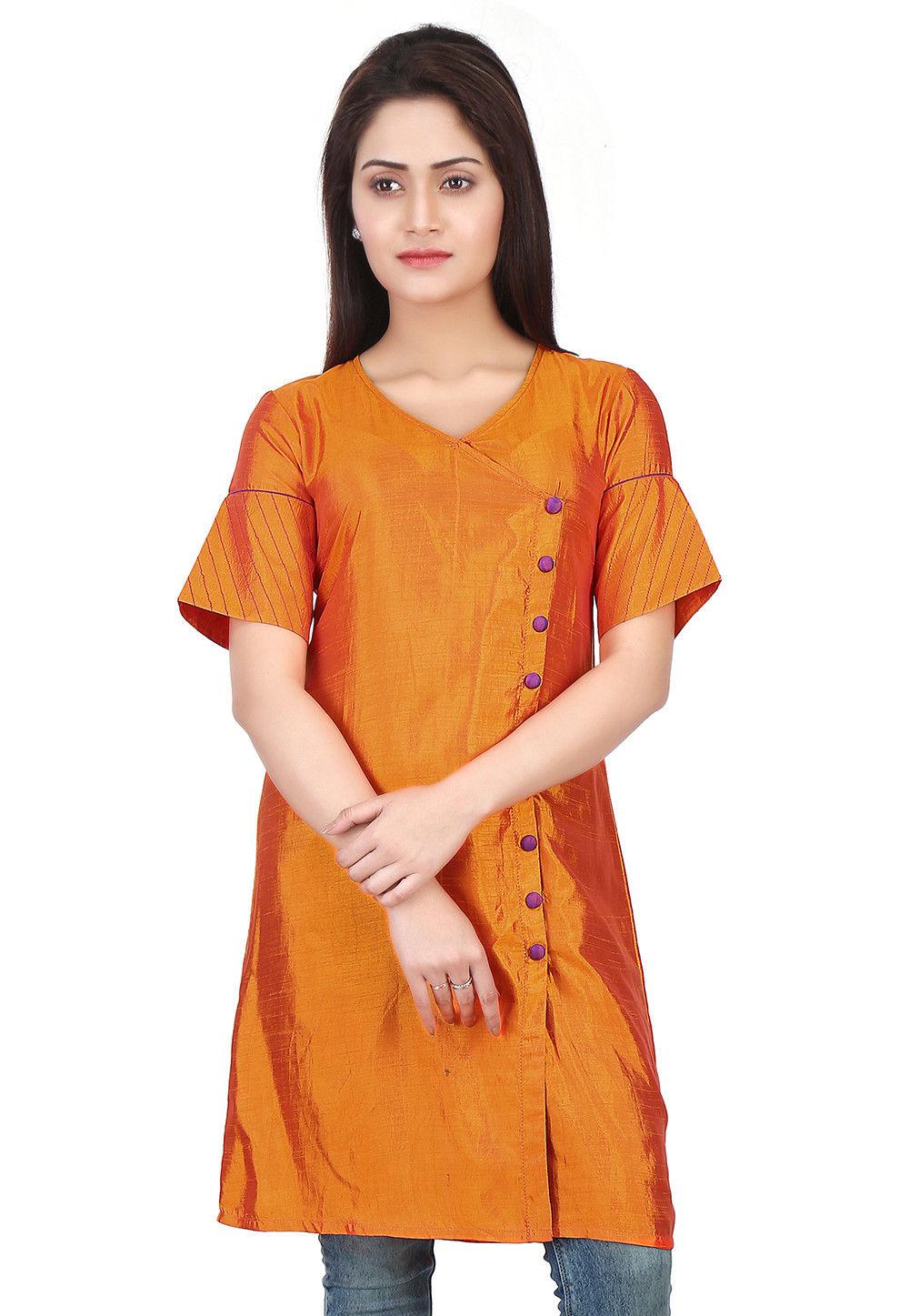 Plain Art Silk Tunic in Orange