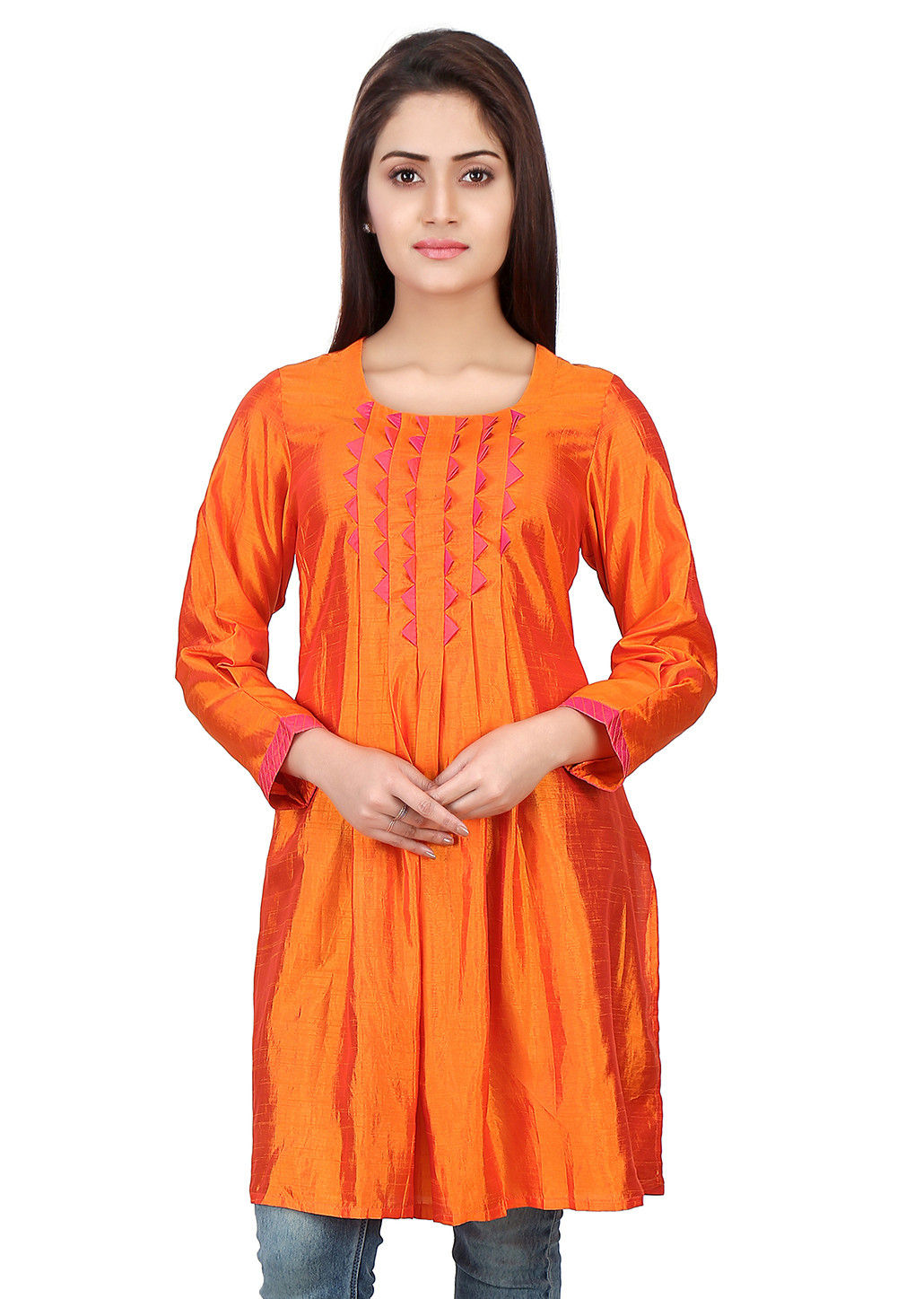 Box Pleated Art Silk Tunic in Orange