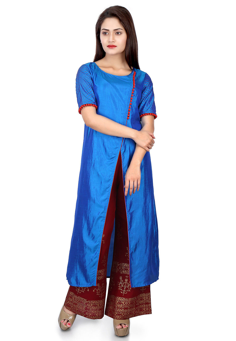 Plain Art Silk Kurta in Blue