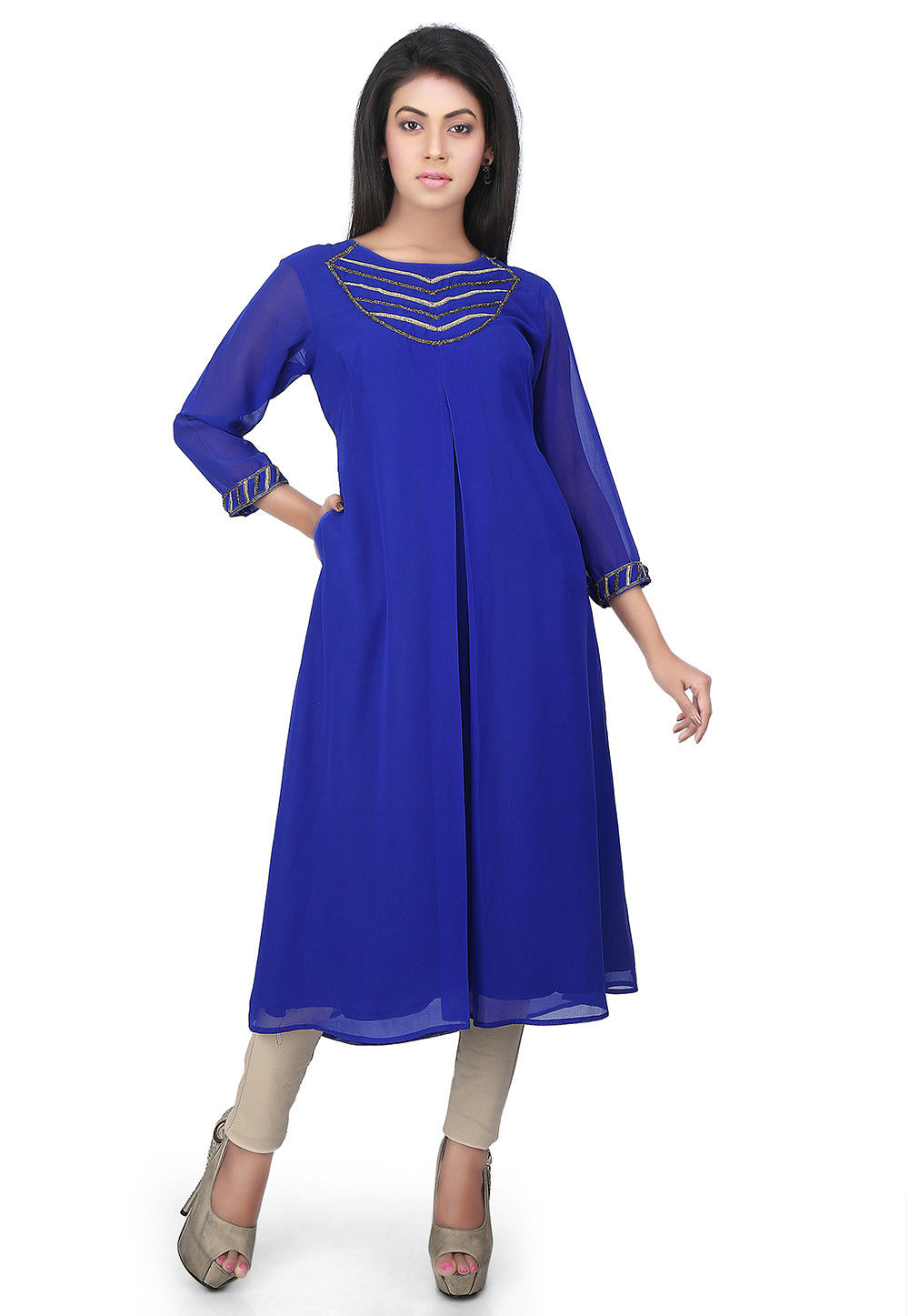 Plain Georgette Kurta in Royal Blue