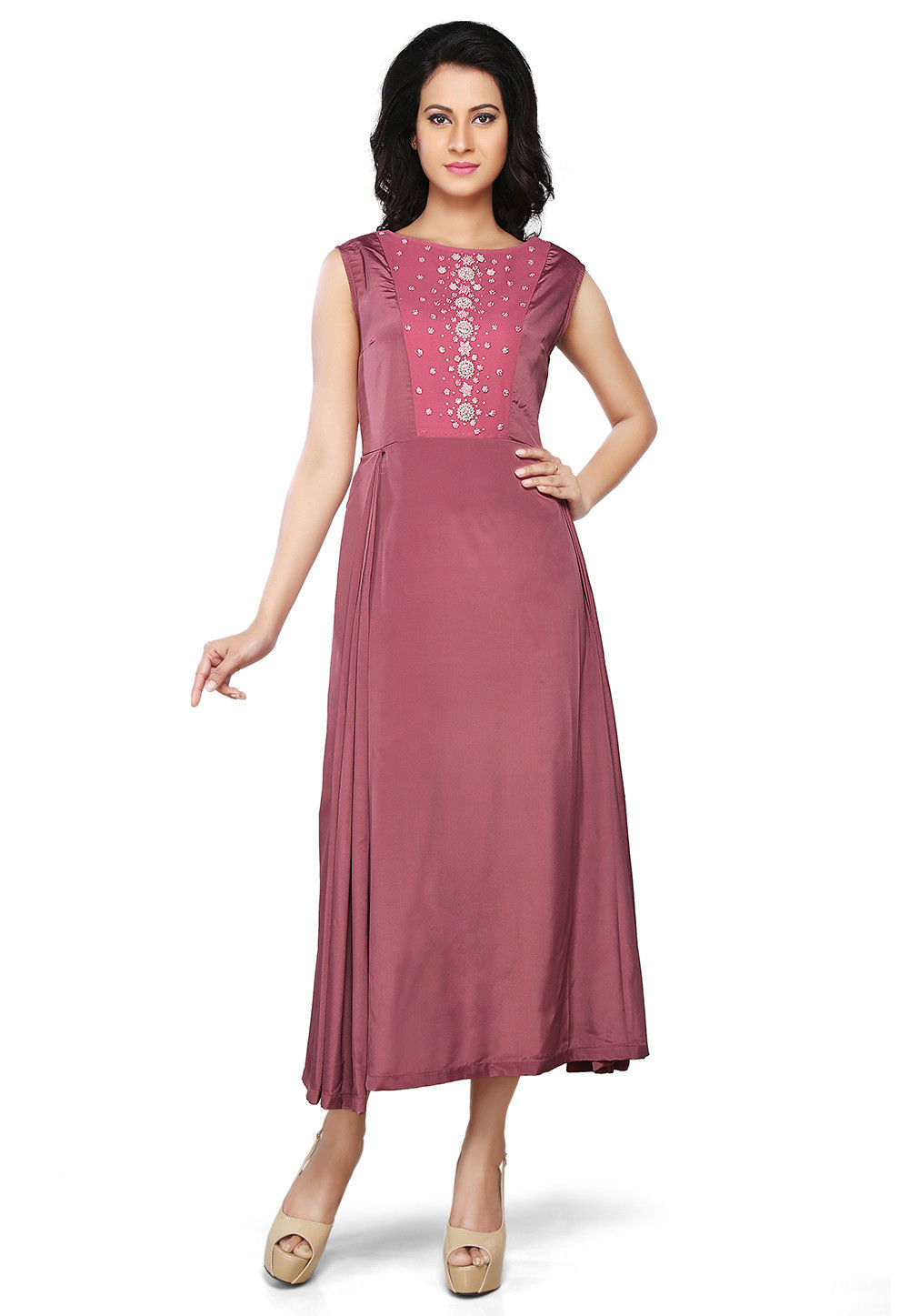 Embroidered Crepe and Georgette Long Dress in Old Rose