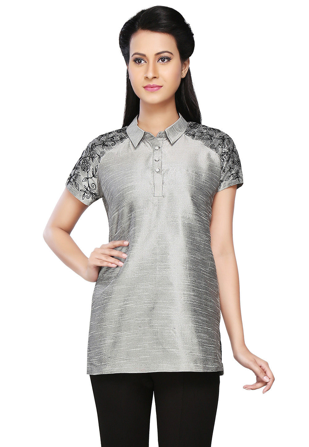 Embroidered Dupion Silk Top in Grey