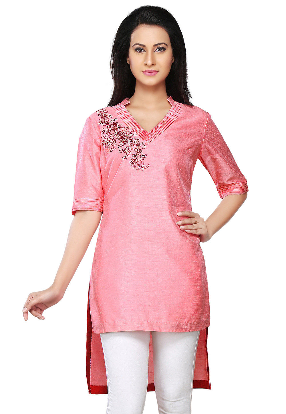 Embroidered Dupion Silk Asymmetric Kurti in Pink