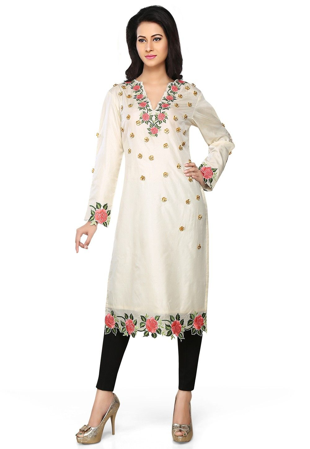 Embroidered Art Silk Long Kurta in Off White