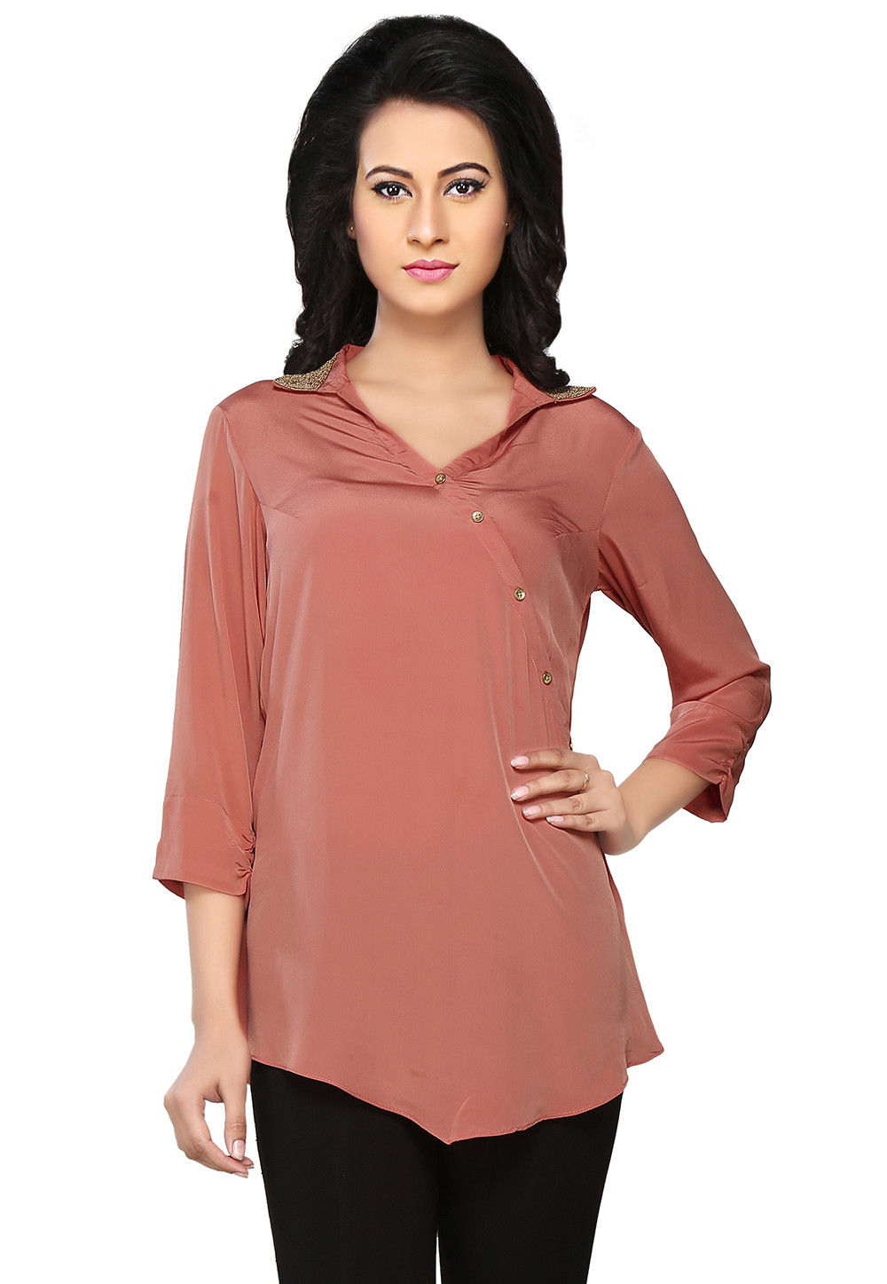 Plain Crepe Top in Old Rose