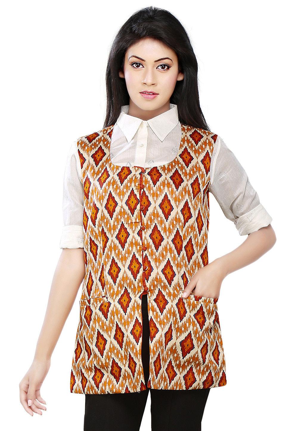 Printed Satin Cotton Jacket in Multicolor