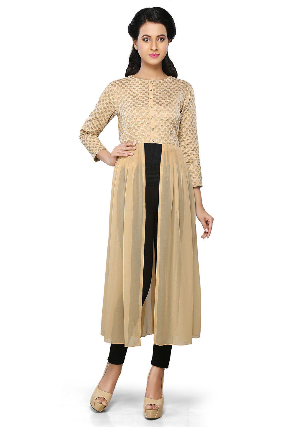 Brocade and Georgette Long Kurta in Beige