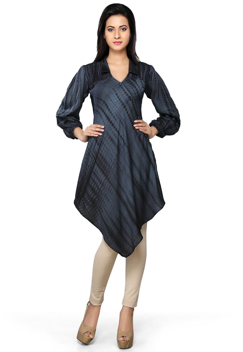 Printed Modal Silk Asymmetric Tunic in Grey and Black