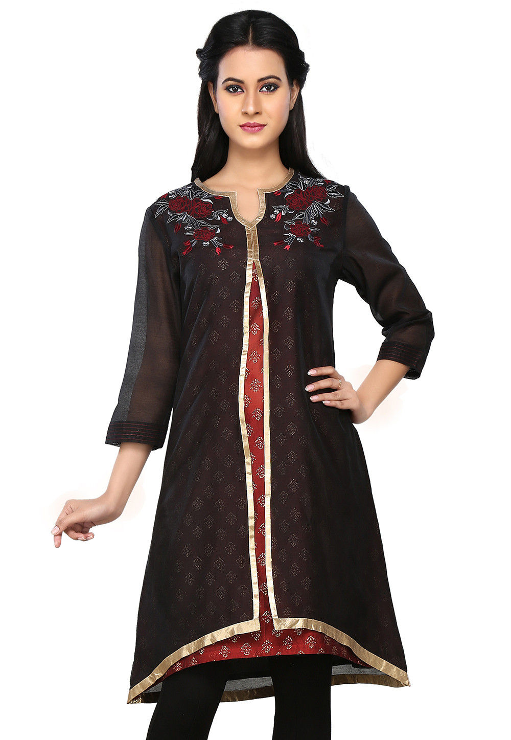 Embroidered Double Layered Chanderi Silk Tunic in Black and Maroon