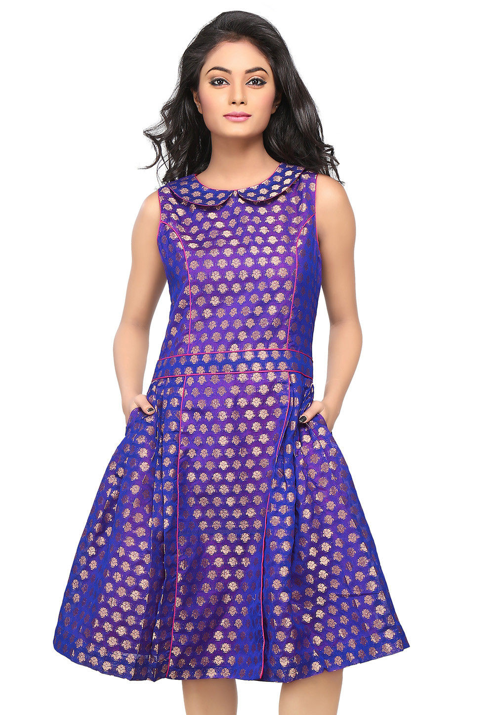 Jacquard Chanderi Silk A Line Dress in Royal Blue