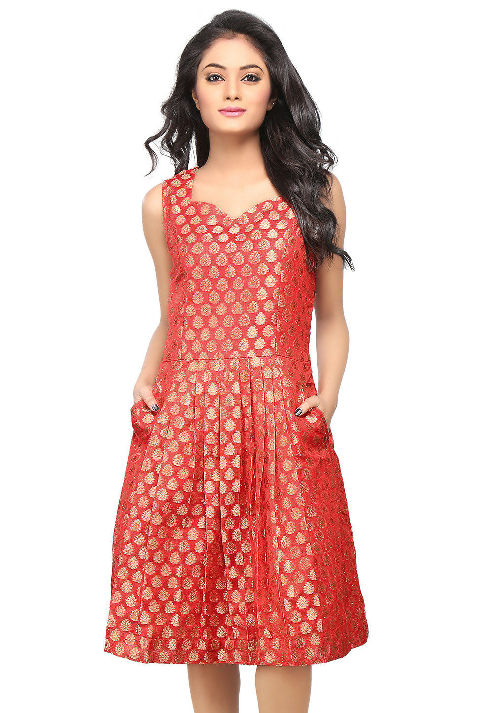 Jacquard Chanderi Silk Jacquard A Line Dress in Red
