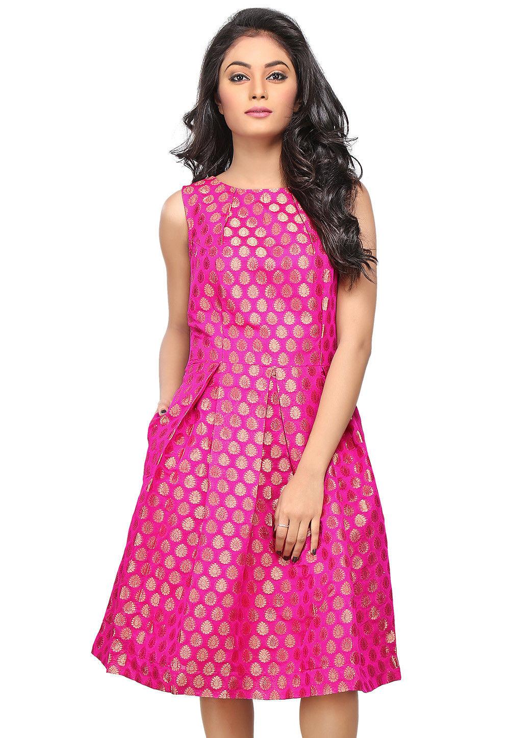 Jacquard Chanderi Silk Jacquard A Line Dress in Fuchsia
