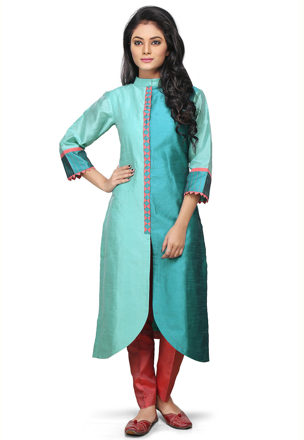 Asymmetric Art Silk Long Kurta in Teal Green and Teal Blue
