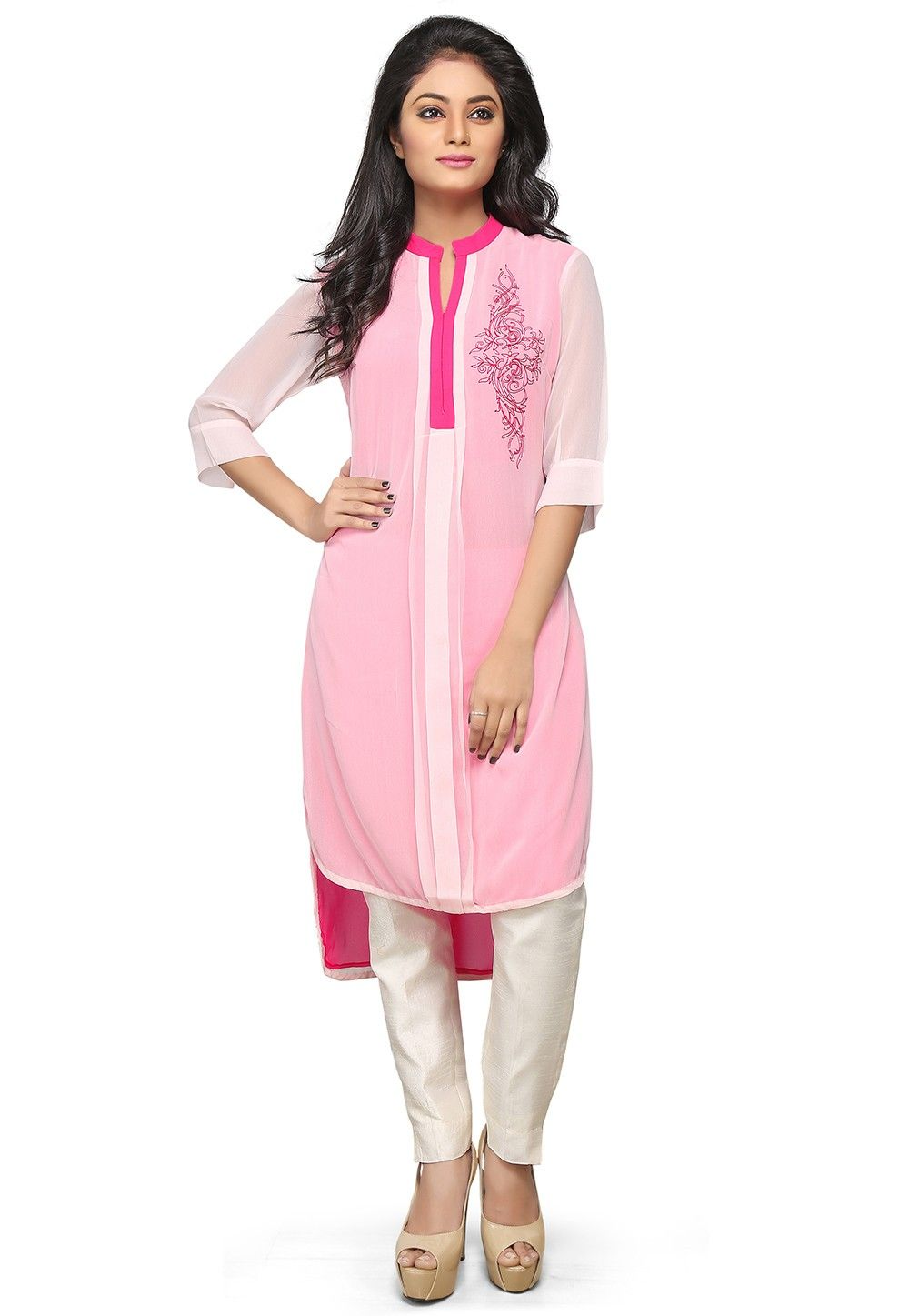 Embroidered Georgette High Low Long Kurta in Baby Pink