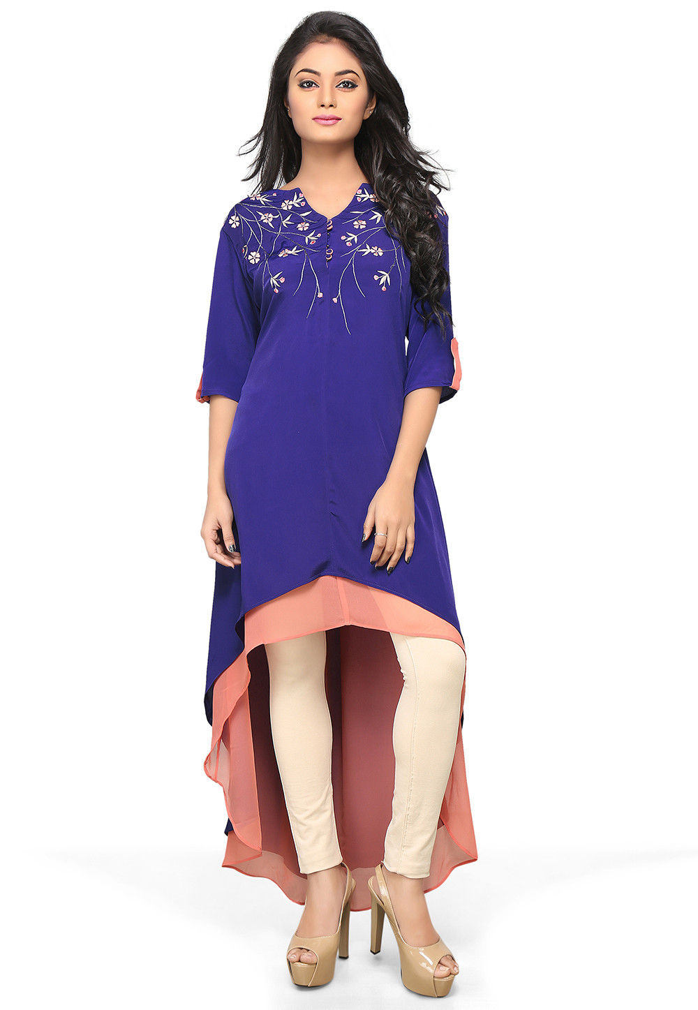 Asymmetric Embroidered Crepe Long Kurta in Royal Blue