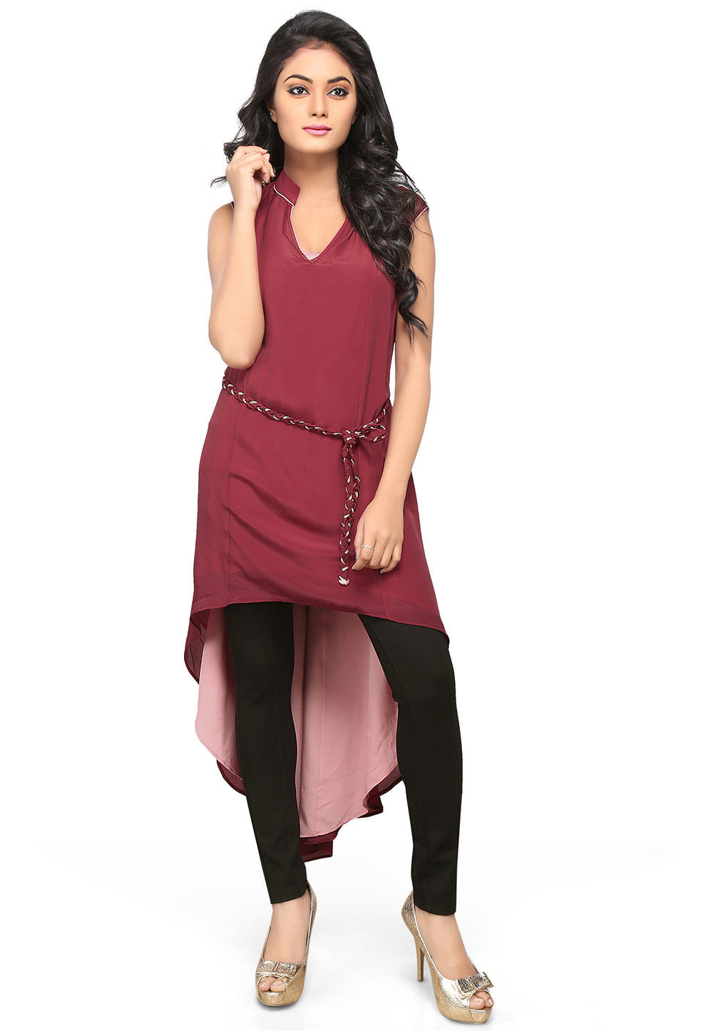 Asymmetric Crepe Long Kurta in Maroon
