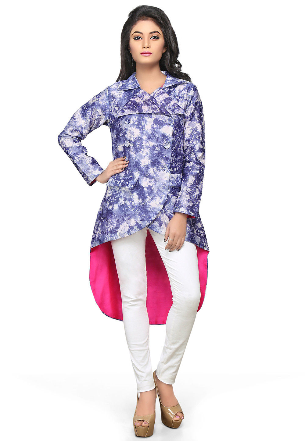 Asymmetric Chanderi Silk Jacket in Blue and White
