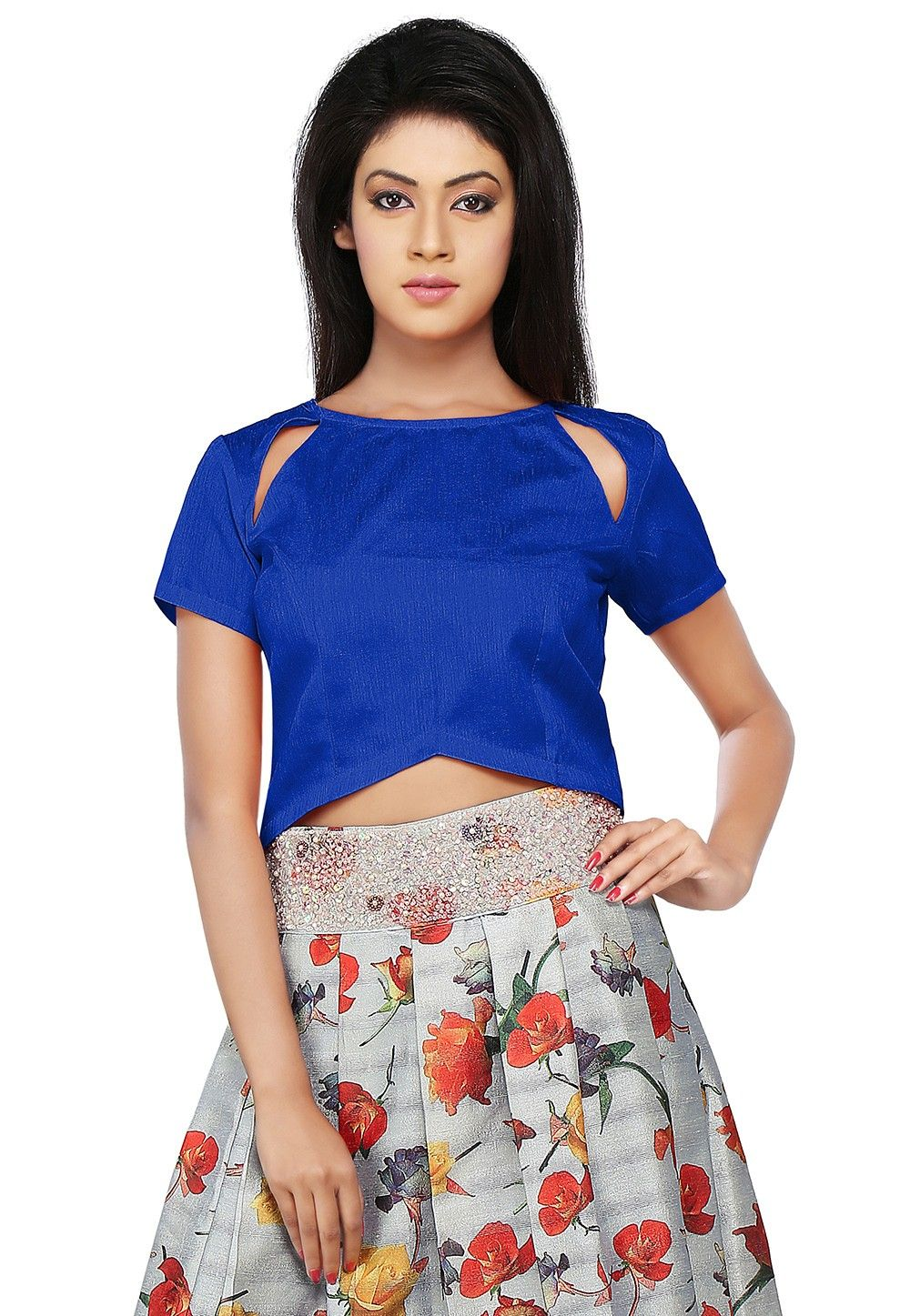 Asymmetric Dupion Silk Top in Royal Blue