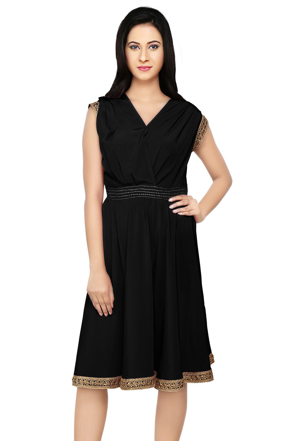 Embroidered Crepe Dress in Black