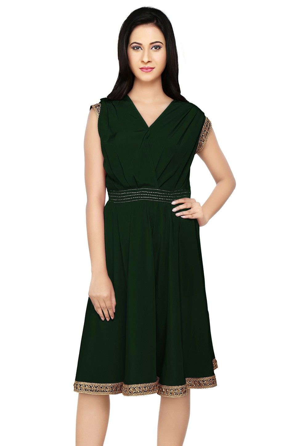 Embroidered Crepe Dress in Dark Green